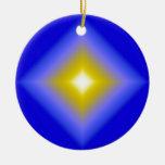 Estrella que brilla intensamente en azul ornamento de navidad
