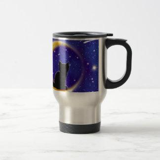 Estrella que mira el gato tazas de café