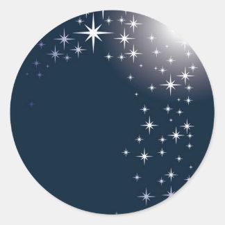 estrella que mira etiqueta redonda