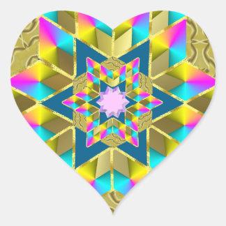 Estrella Qullt del día de fiesta Pegatina En Forma De Corazón