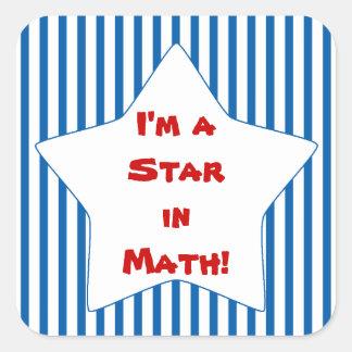 Estrella rayada azul del estudiante de la matemáti calcomanía cuadradase