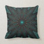 Estrella rayada, moderno abstracto anaranjado cián almohada