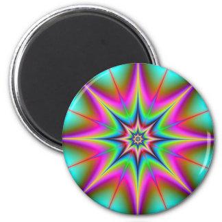 Estrella reticulada imán redondo 5 cm