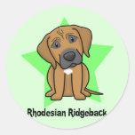 Estrella Rhodesian Ridgeback de Kawaii Etiqueta Redonda