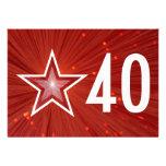 "Estrella roja ""40"" parte posterior del blanco de l"