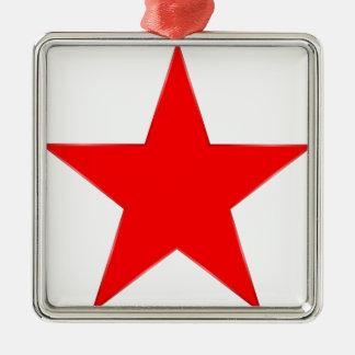 Estrella roja adorno navideño cuadrado de metal