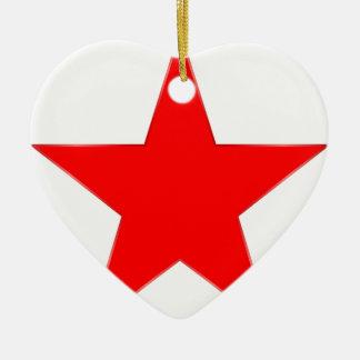 Estrella roja adorno navideño de cerámica en forma de corazón