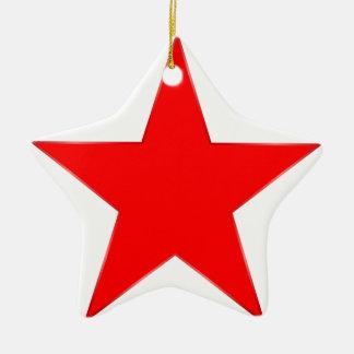 Estrella roja adorno navideño de cerámica en forma de estrella