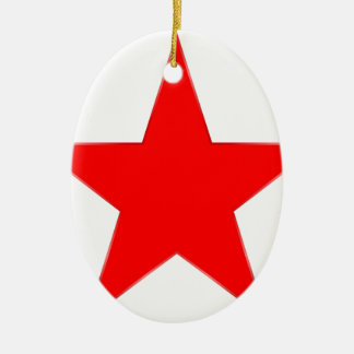 Estrella roja adorno navideño ovalado de cerámica
