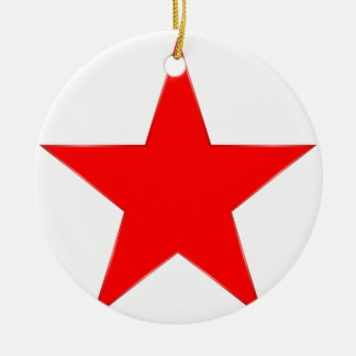 Estrella roja adorno navideño redondo de cerámica