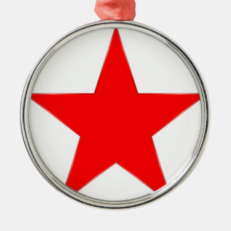 Estrella roja adorno navideño redondo de metal