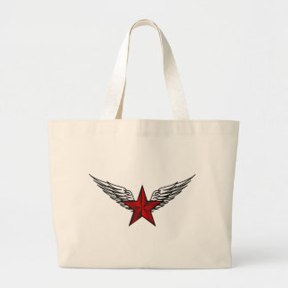 estrella roja con las alas bolsa tela grande