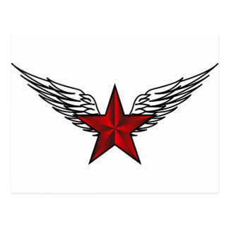 estrella roja con las alas postales