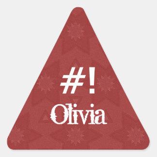 Estrella roja conocida de encargo G504 de OLIVIA Calcomanía Trianguladas Personalizadas