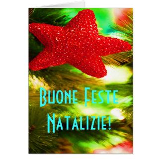 Estrella roja de Buone Feste Natalizie del navidad Tarjeta De Felicitación
