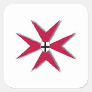 estrella roja de la dedicación pegatina cuadrada