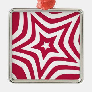 Estrella roja adorno cuadrado plateado
