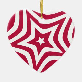 Estrella roja adorno de cerámica en forma de corazón