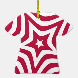 Estrella roja adorno de cerámica en forma de playera