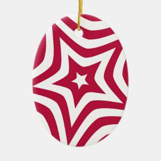 Estrella roja adorno ovalado de cerámica