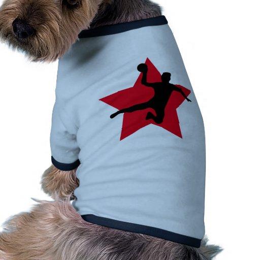 estrella roja del balonmano ropa de mascota