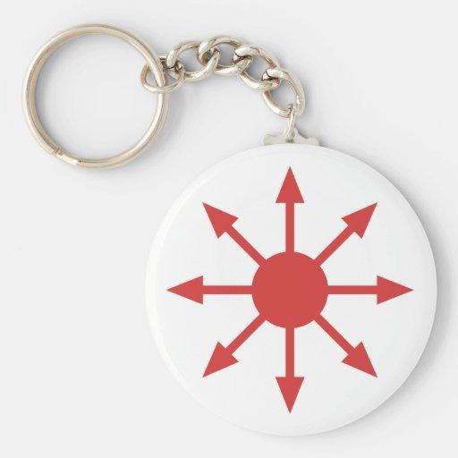 Estrella roja del caos llavero redondo tipo pin