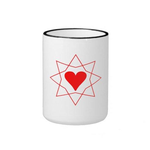 Estrella roja del corazón tazas de café