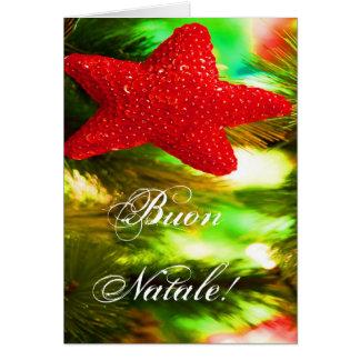 Estrella roja del navidad de Buon Natale del Tarjeta De Felicitación
