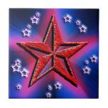 Estrella roja del poder azulejos cerámicos