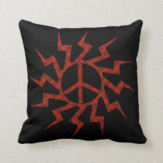 Estrella roja del signo de la paz almohada