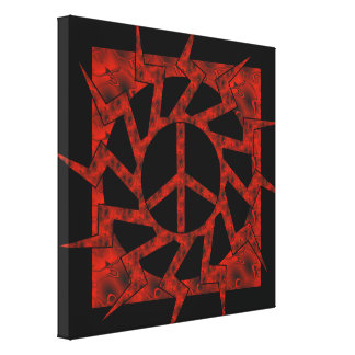 Estrella roja del signo de la paz lienzo envuelto para galerias
