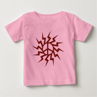 Estrella roja del suspiro de la paz playera de bebé