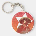 Estrella roja del vintage de Pancho Villa Llavero Redondo Tipo Pin