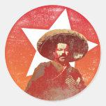 Estrella roja del vintage de Pancho Villa Pegatina Redonda