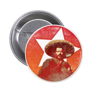 Estrella roja del vintage de Pancho Villa Pin Redondo De 2 Pulgadas