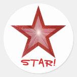 """Estrella roja """"ESTRELLA!"""" blanco redondo del Pegatinas Redondas"""
