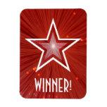 """Estrella roja """"ganador!"""" imán flexible"""
