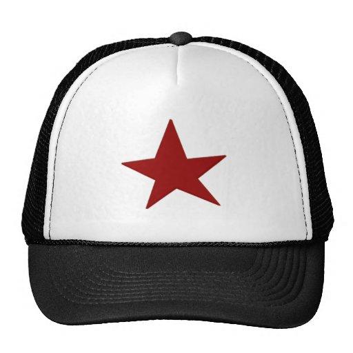 Estrella roja gorros bordados