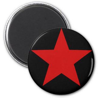 Estrella roja imán redondo 5 cm