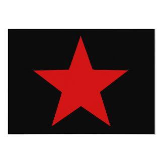 """Estrella roja invitación 5"""" x 7"""""""
