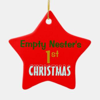 Estrella roja navidad vacío de la jerarquía del 1r adorno navideño de cerámica en forma de estrella