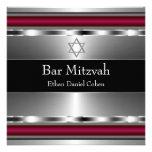 Estrella roja negra de la barra Mitzvah de David Invitación