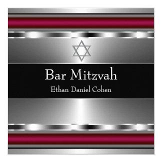 Estrella roja negra de la barra Mitzvah de David Invitación 13,3 Cm X 13,3cm