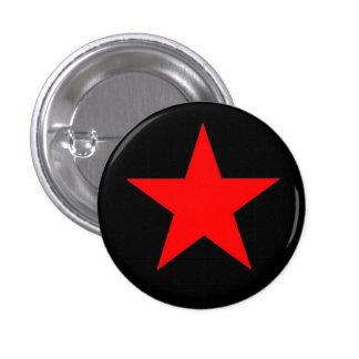 Estrella roja pin redondo de 1 pulgada