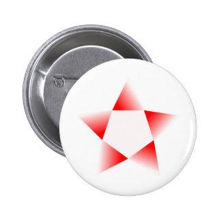Estrella roja que gira pin redondo de 2 pulgadas