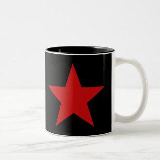 Estrella roja taza de dos tonos
