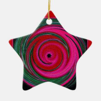 Estrella roja, verde y rosada del arte del adorno de cerámica en forma de estrella