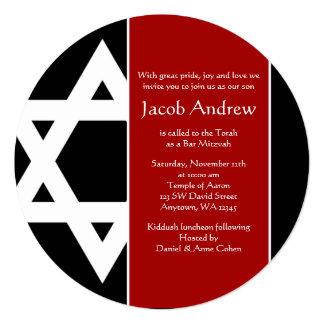 """Estrella roja y negra de la barra redonda Mitzvah Invitación 5.25"""" X 5.25"""""""