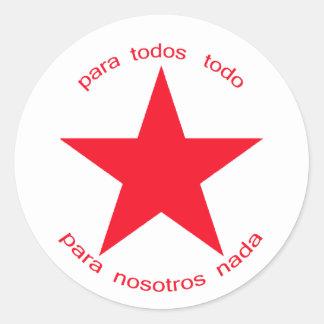 Estrella roja Zapatista Pegatina Redonda