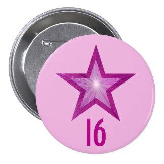 """Estrella rosada """"16"""" botón pálido - rosa pin redondo de 3 pulgadas"""